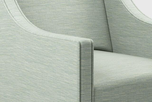 Upholstered classic chair in FR fabric Obay in lichen colour with herringbone pattern