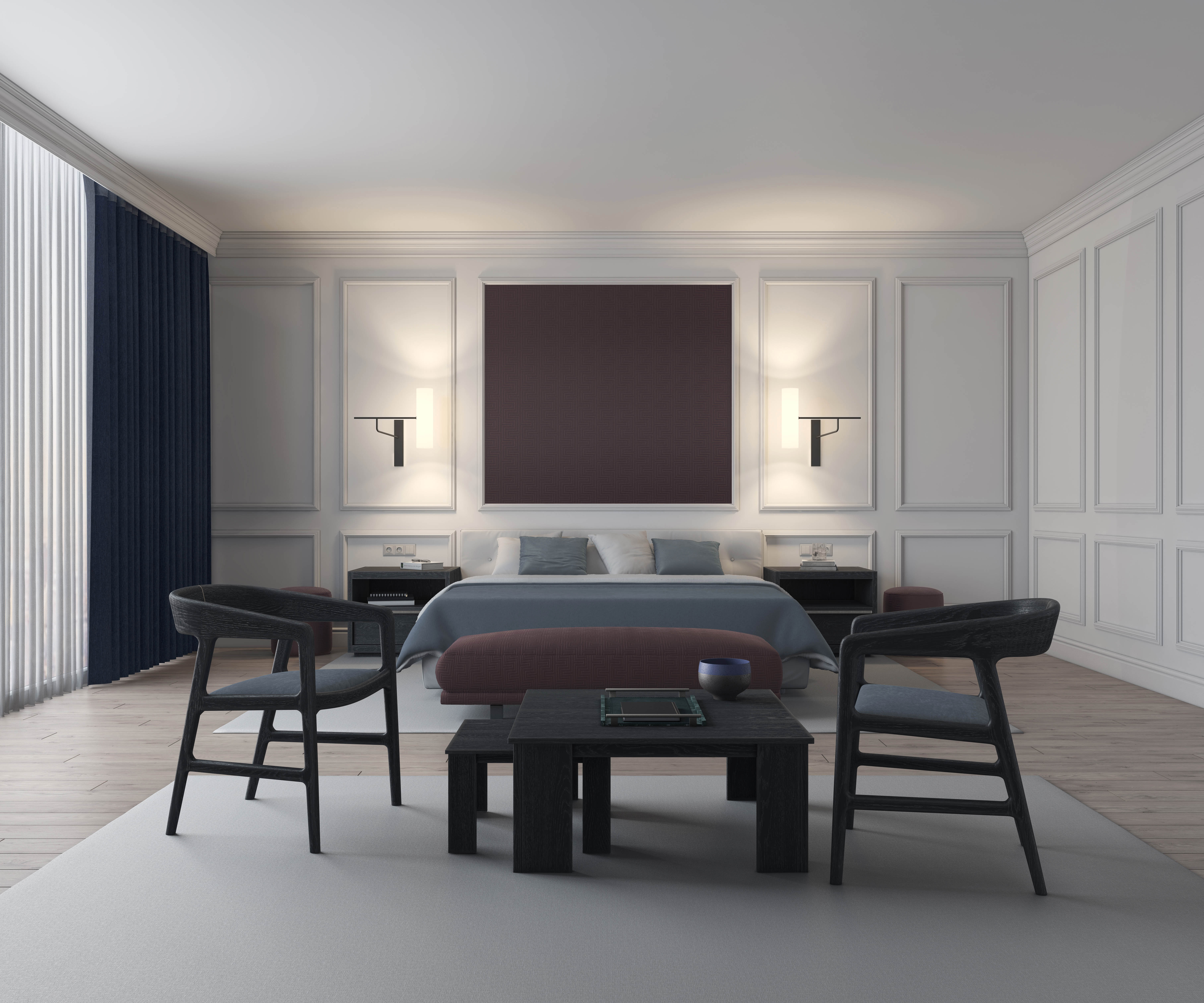inherently fire retardant fabrics upholstery in a 3D rendered hotel room scene