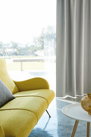 fr upholstery in happy yellow couch_blockbuster collection