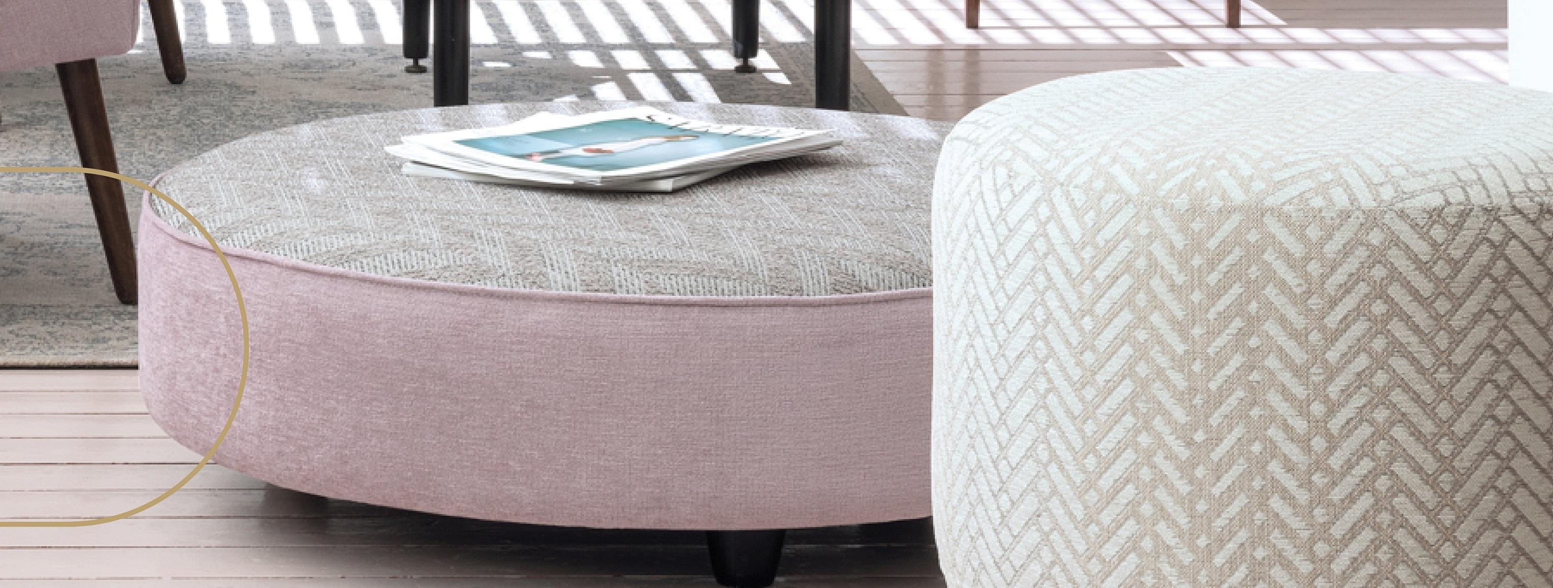 3 inherently fire-retardant fabrics in geometric herringbone patterns