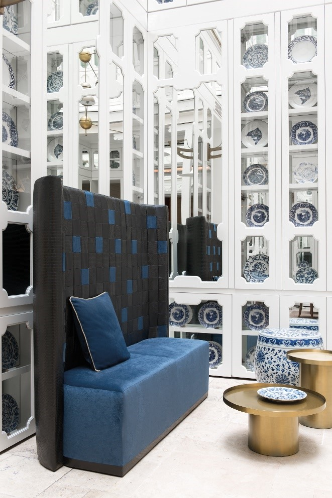 Navy blue upholstered restaurant booth, from our 2016 collection 'Palazzo Reale.'