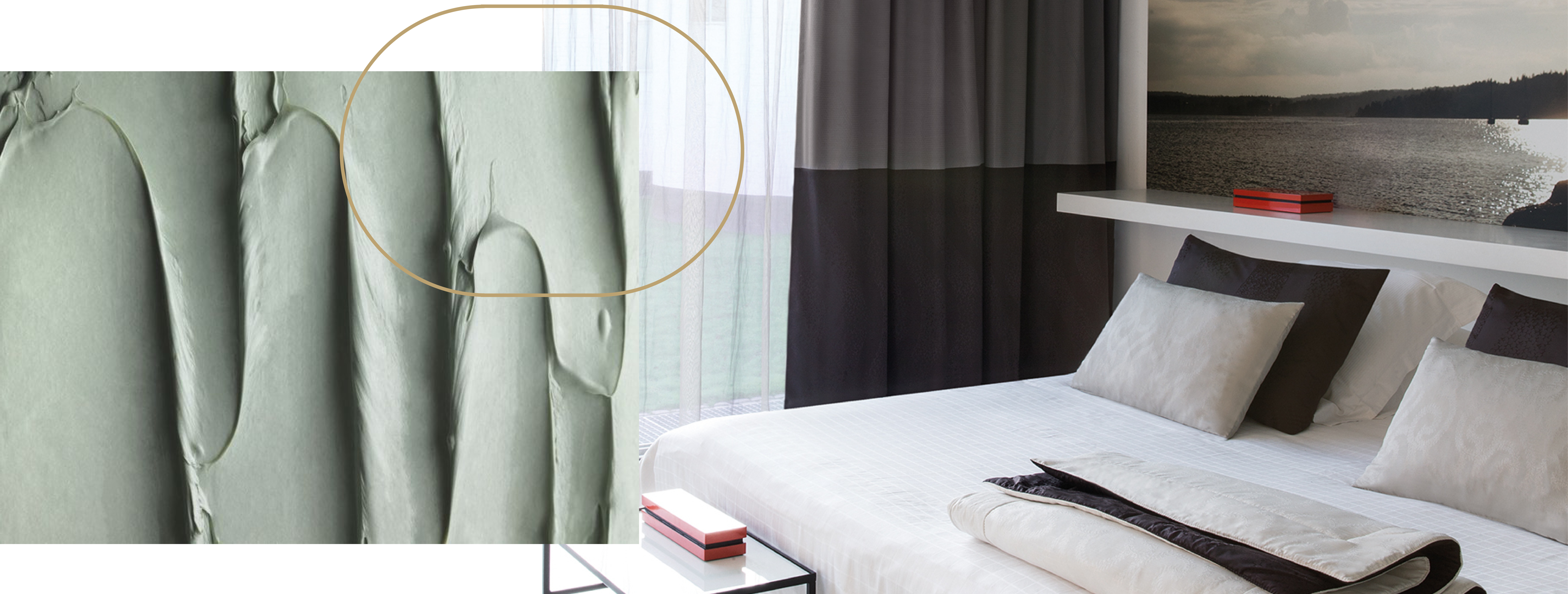 soft coloured upholstery fabric and a neatly made hotel bed