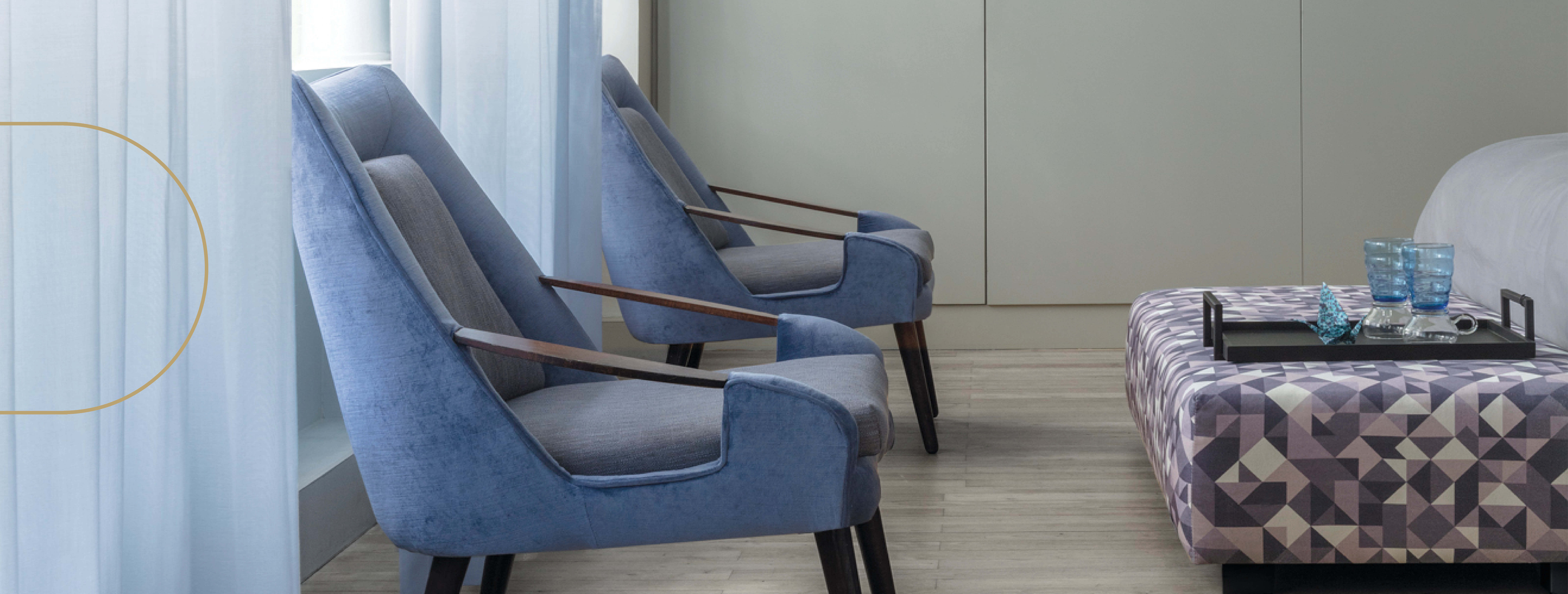 fire retardant upholstery on chairs in a hospital bedroom